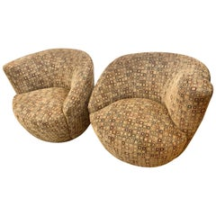 Pair of Midcentury Kagan Curved Nautilus Swivel Chairs