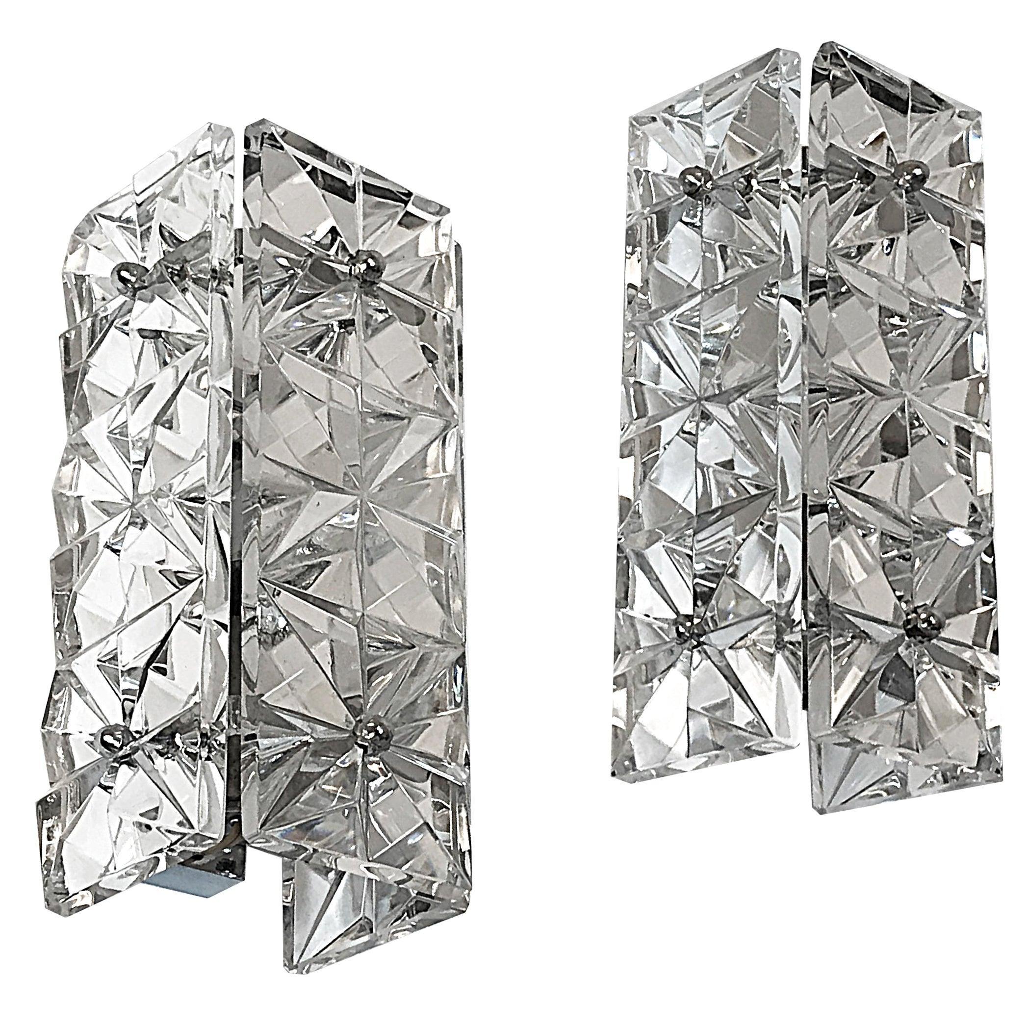 Pair of Midcentury Kinkeldey Crystal Glass Austrian Wall Sconces, 1960s