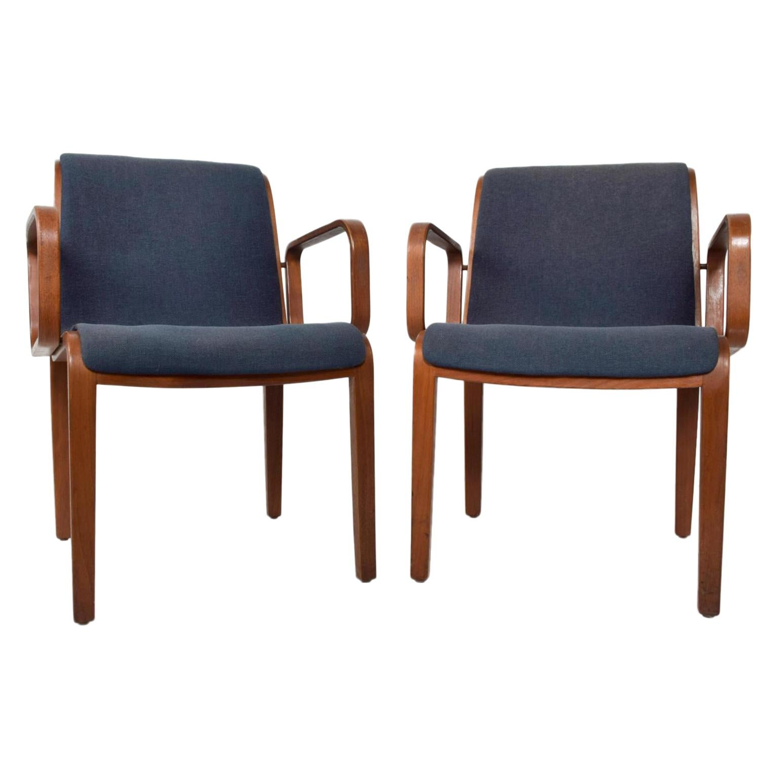 Bill Stephens for Knoll Bentwood Armchairs Midcentury Pair  1970s