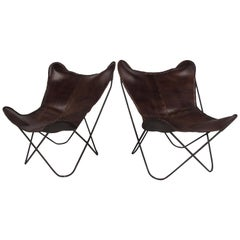 Pair of Midcentury Knoll Hardoy Style Butterfly Chairs