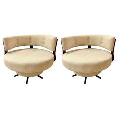 Pair of Midcentury Large Round Swivel Chairs Newly Upholstered in Oatmeal Fabric