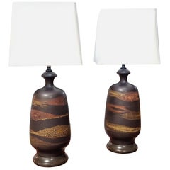 Pair of Midcentury Lava Glazed Pottery Table Lamps