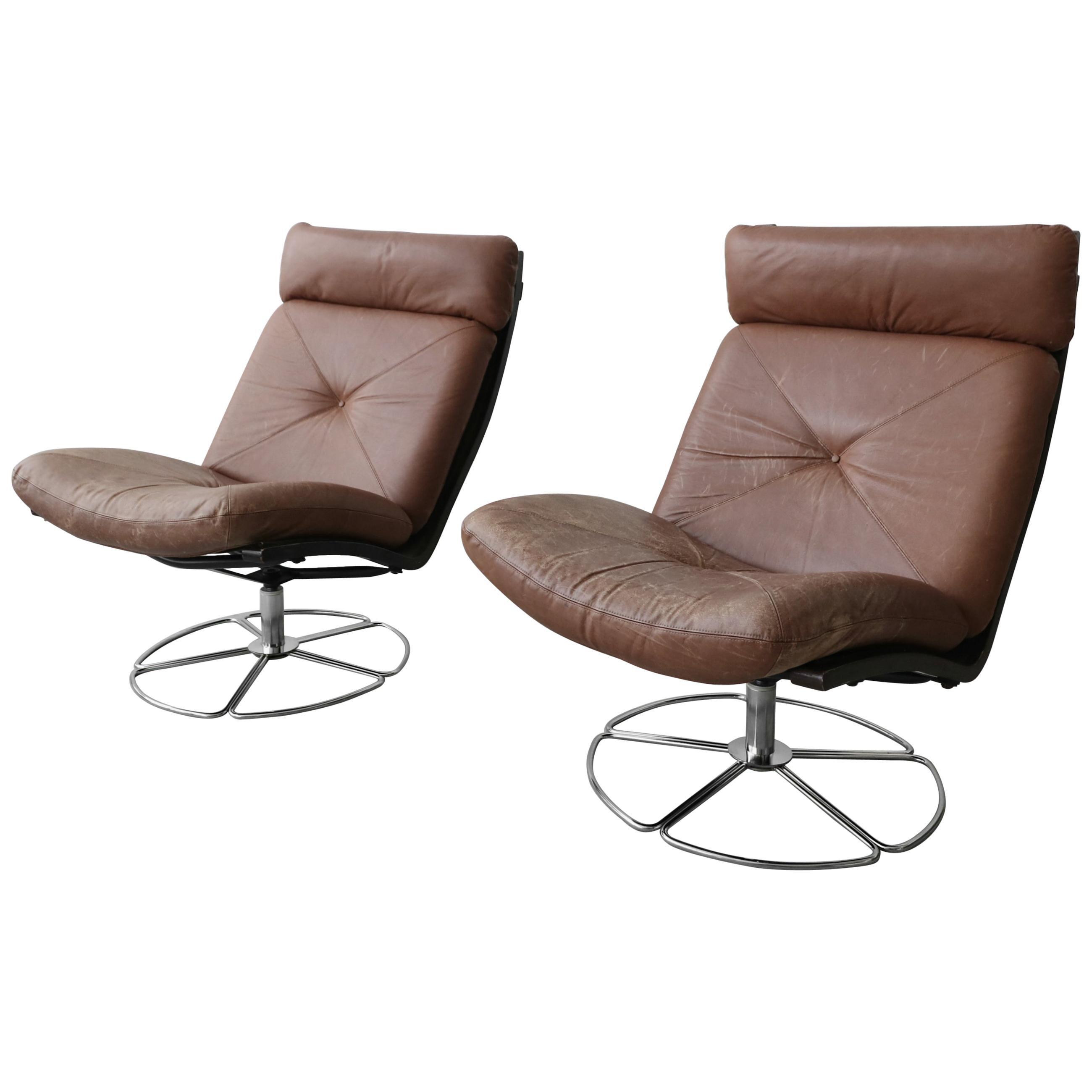 Cool Pair Of Midcentury Leather And Chrome Armless Swivel Danish Style Lounge Chairs Creativecarmelina Interior Chair Design Creativecarmelinacom