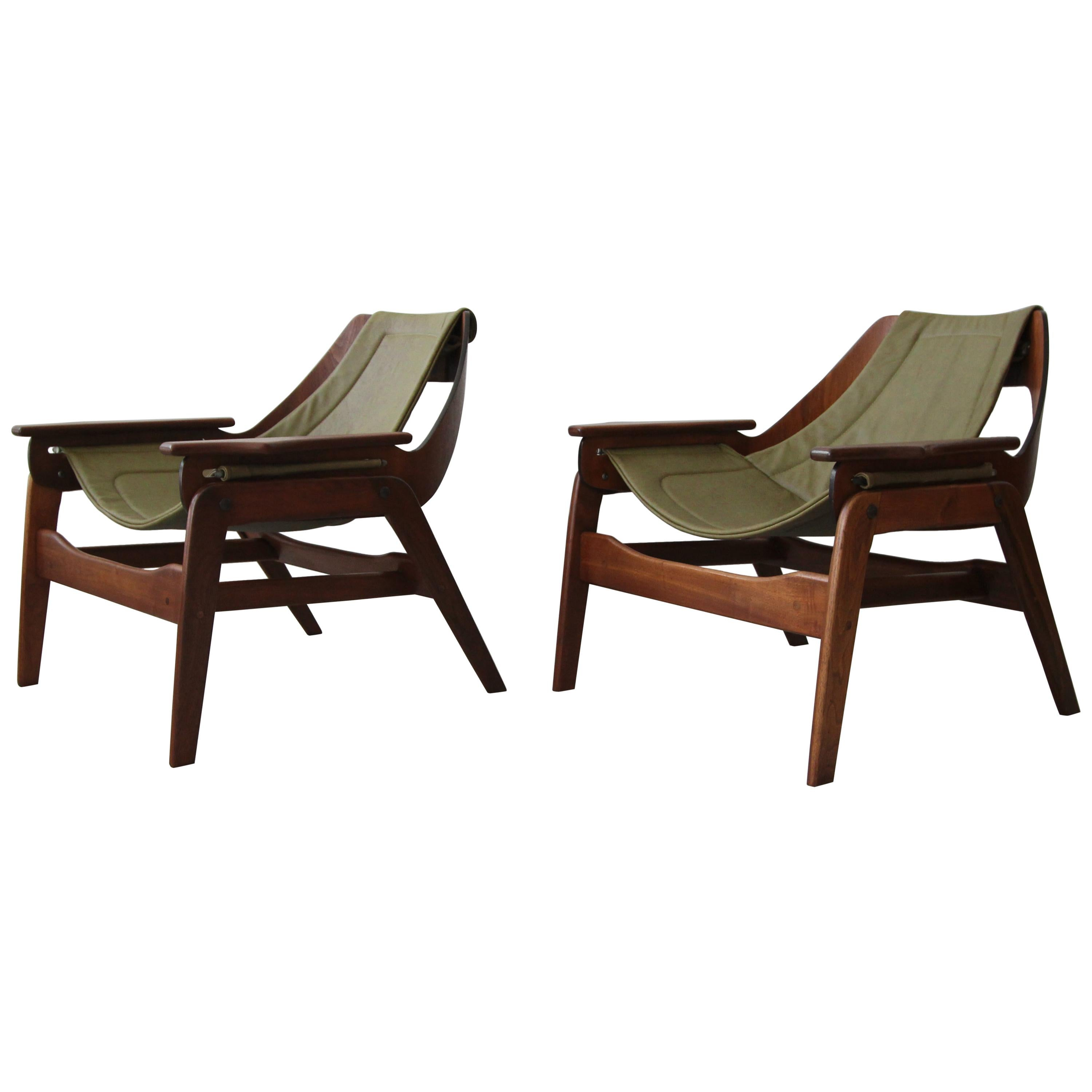 Pair Of Midcentury Leather And Walnut Sling Chairs By Jerry