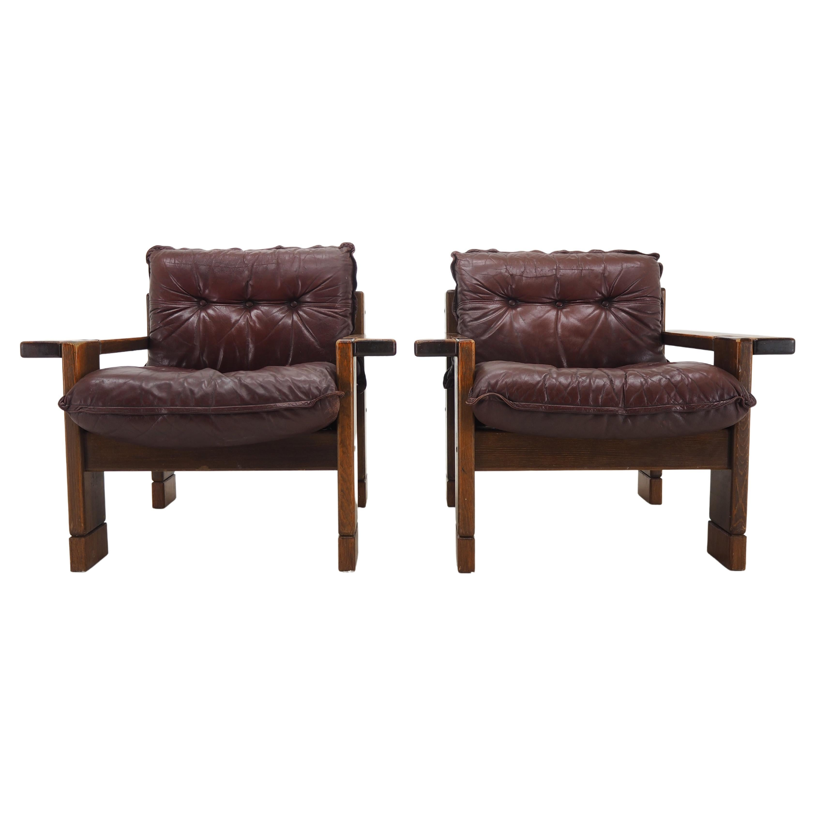 Pair of Midcentury Leather Armchairs, 1960s
