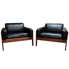 Pair of Midcentury Leather Lounge Chairs, 1960s