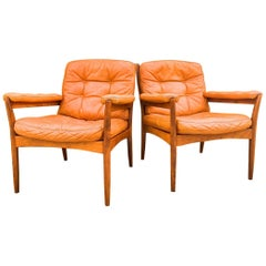 Pair of Midcentury Leather Lounge Chairs