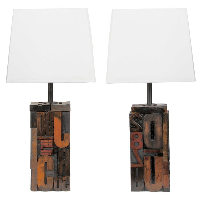 """Pair of Midcentury Letterpress """"Printers"""" Table Lamps, USA, circa 1970 For Sale"""
