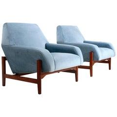Pair of Midcentury Light Blu Velvet Armchairs by Attilio Allievi for Gilberto Ca