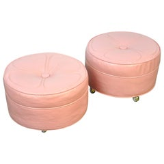 Pair of Midcentury Light Pink Rolling Ottomans