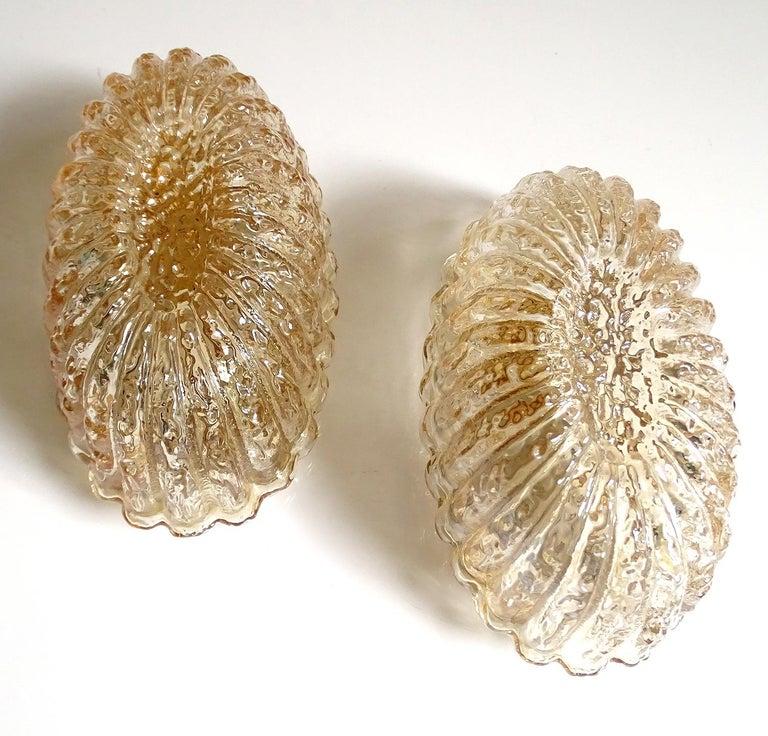 Mid-Century Modern Pair of Midcentury Limburg Flower Floral Glass Vanity Mirror Sconces, 1960s For Sale