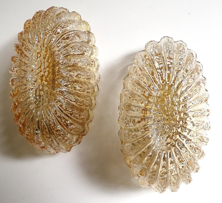 Pair of Midcentury Limburg Flower Floral Glass Vanity Mirror Sconces, 1960s In Excellent Condition For Sale In Bremen, DE