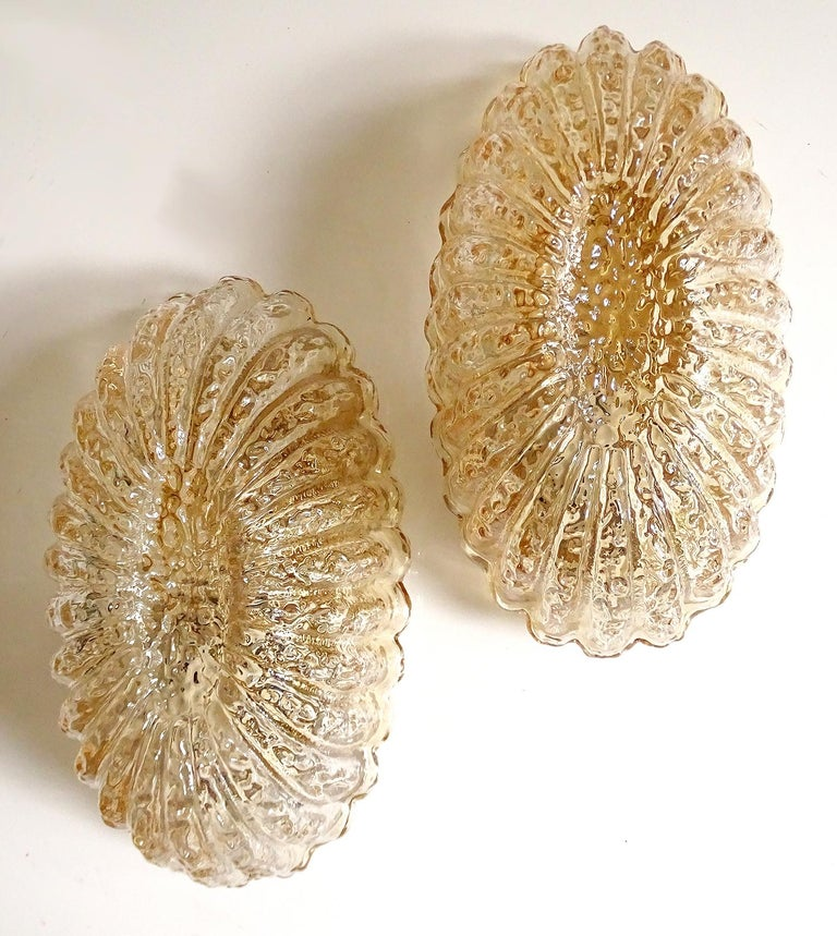 Pair of Midcentury Limburg Flower Floral Glass Vanity Mirror Sconces, 1960s For Sale 1