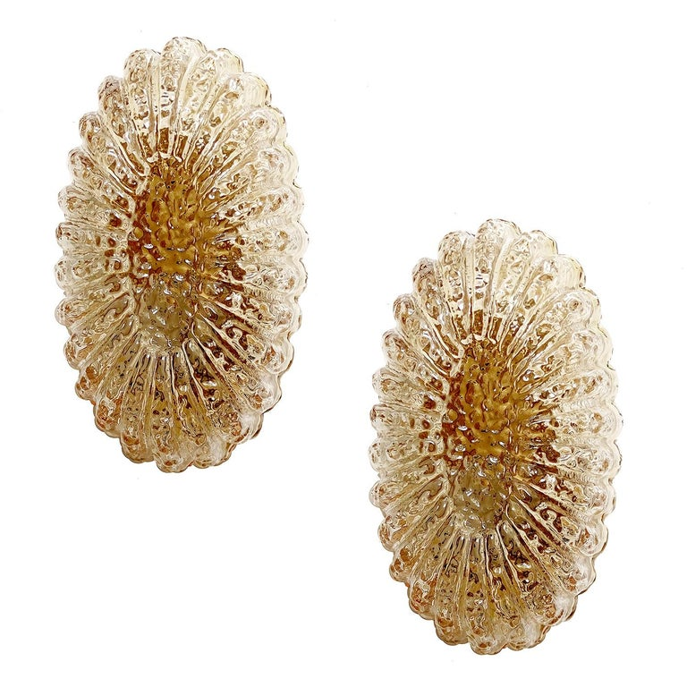 Pair of Midcentury Limburg Flower Floral Glass Vanity Mirror Sconces, 1960s For Sale