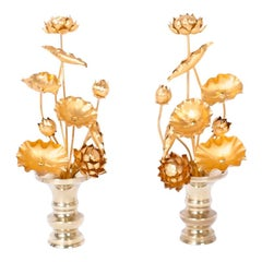 Pair of Midcentury Lotus Flower Arrangements in Brass Vases