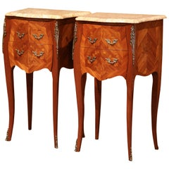 Pair of Midcentury Louis XV Marquetry Bombe Nightstands with Marble Top