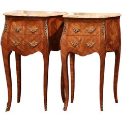 Pair of Midcentury Louis XV Marquetry Inlaid Bombe Nightstands with Marble Top