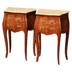 Pair of Midcentury Louis XV Marquetry Inlaid Nightstands with Beige Marble Top