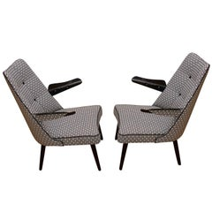 Pair of Midcentury Lounge Armchairs, Central Europe, 1960s