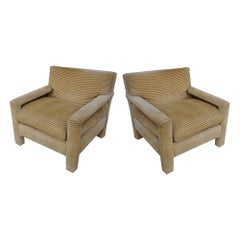 Pair of Midcentury Lounge Chairs and Ottoman by John Mascheroni for Swaim
