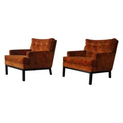 Pair of Midcentury Lounge Chairs by Harvey Probber in Jack Lenor Larsen Fabric