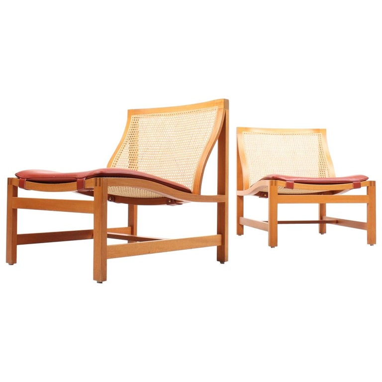 Pair of Midcentury Lounge Chairs by in Beech and Patinated Leather, Danish For Sale