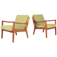 Pair of Midcentury Lounge Chairs by Ole Wanscher, Danish Design 1950s