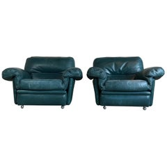 Pair of Midcentury Lounge Chairs by Poltrona Frau, Italy, 1970s