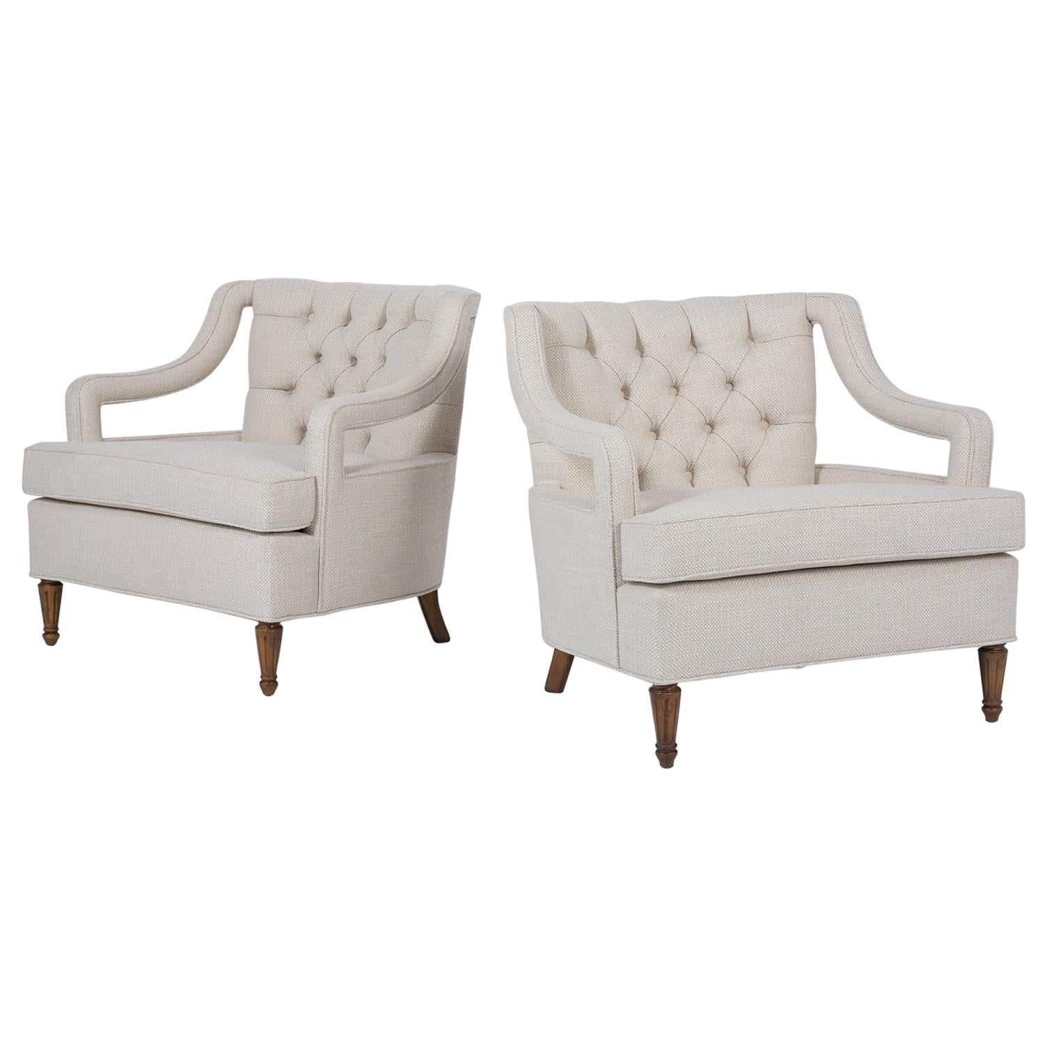 Vintage Tufted Mid-Century Lounge Chairs