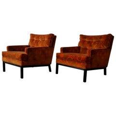 Pair of Midcentury Lounge Chairs Harvey Probber Style Jack Lenor Larsen Fabric