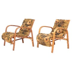 Pair of Midcentury Lounge Chairs in Bamboo & Elm by Wengler Danish Design, 1940s