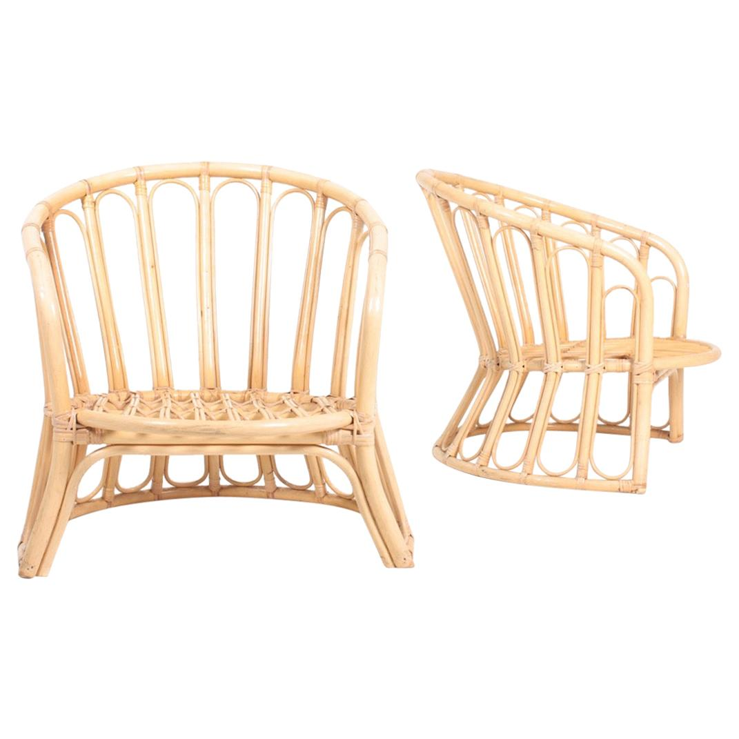 Pair of Midcentury Lounge Chairs in Bamboo, Made in Denmark, 1950s