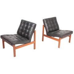 Pair of Midcentury Lounge Chairs in Patinated Leather, 1960s