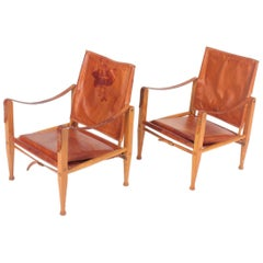 Pair of Midcentury Lounge Chairs in Patinated Leather by Kaare Klint