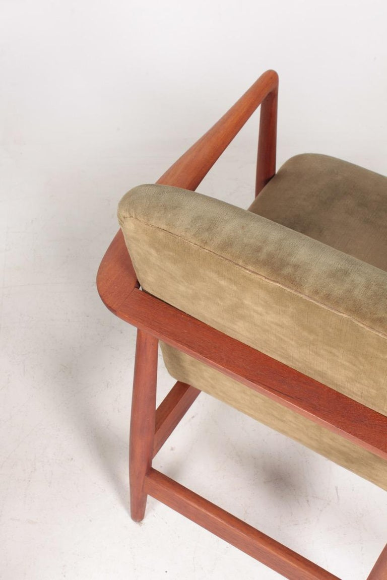 Fabric Pair of Midcentury Lounge Chairs in Teak and Velvet by C.B Hansen, 1950s For Sale