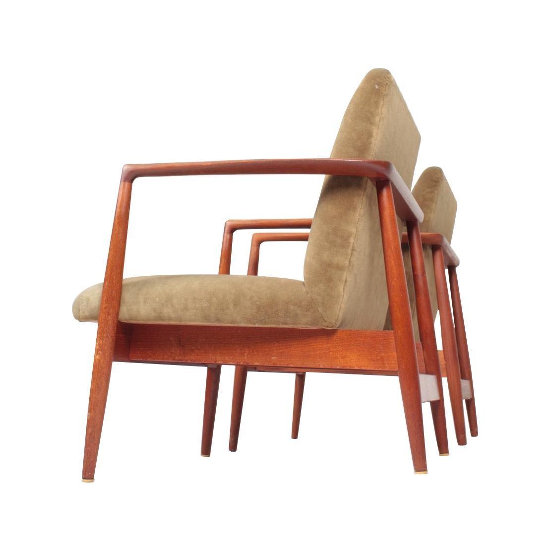 Pair of Midcentury Lounge Chairs in Teak and Velvet by C.B Hansen, 1950s