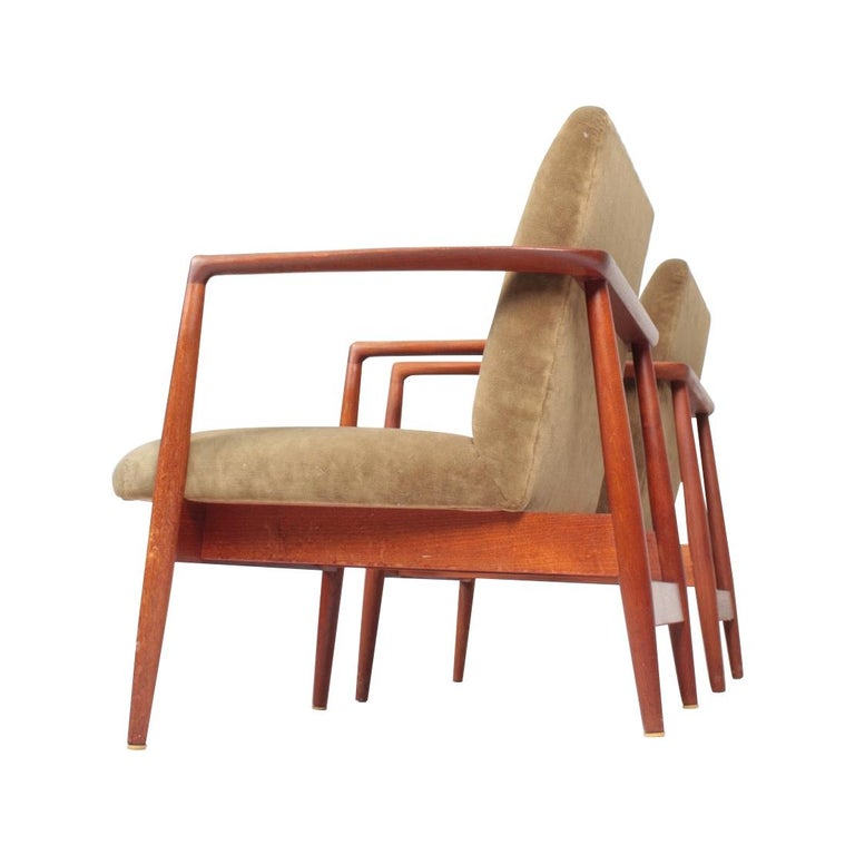 Pair of Midcentury Lounge Chairs in Teak and Velvet by C.B Hansen, 1950s For Sale