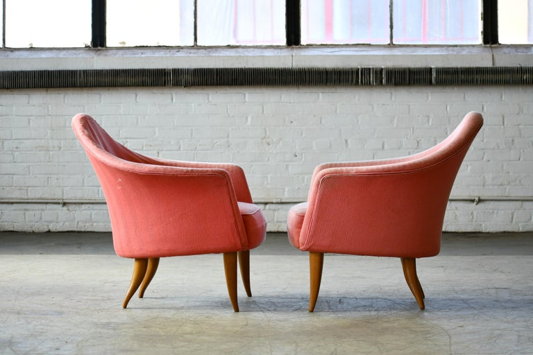 Swedish Pair of Midcentury Lounge Chairs Model