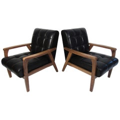 Pair of Midcentury Lounge Chairs with Faux-Leather Upholstery