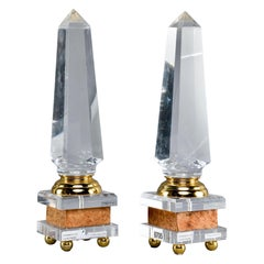 Pair of Midcentury Lucite and Brass Footed Obelisks