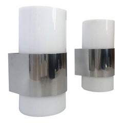 Pair of Midcentury Lucite and Chromed Metal Wall Sconces by Metalarte, 1980s