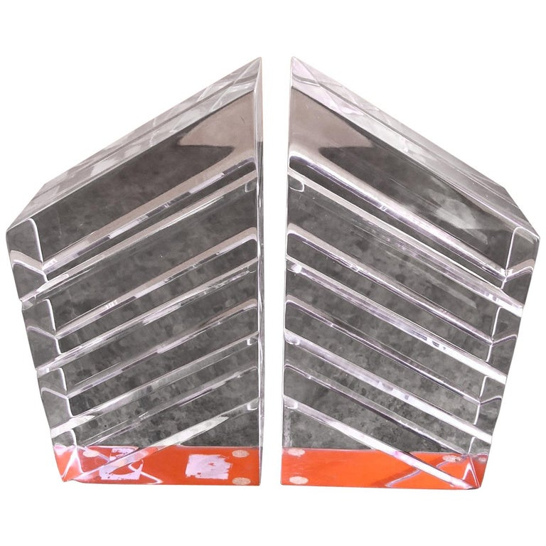 Pair of Midcentury Lucite Bookends by Astrolite For Sale