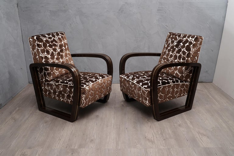 Pair of Midcentury Macassar Wood and Brass Italian Armchairs, 1950 For Sale 1
