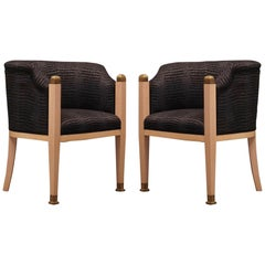 Pair of Midcentury Maple Brass and Fabric Austrian Armchairs, 1940
