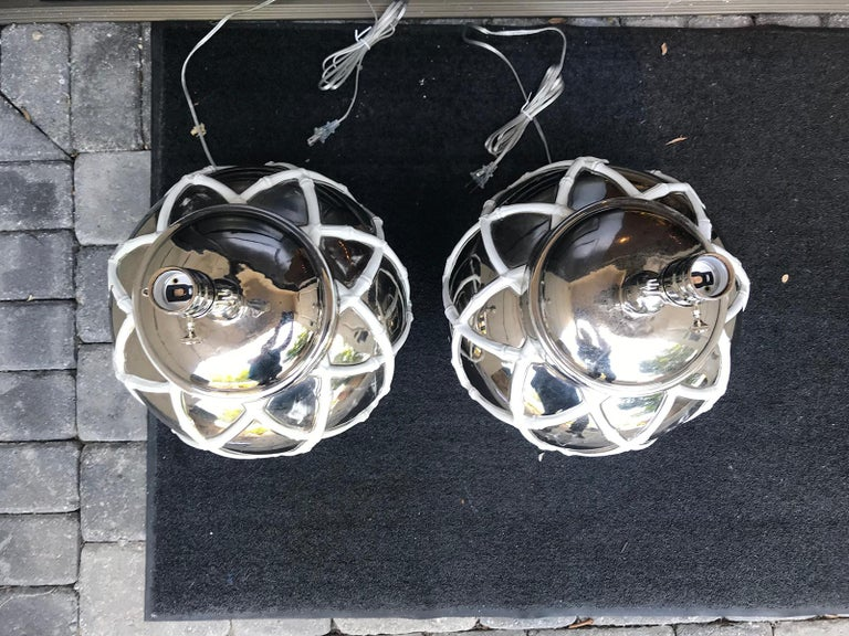 Pair of Mid-20th Century mercury glass lamps with faux bamboo lattice.