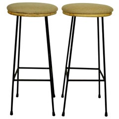 Pair of Midcentury Metal and Bamboo Bar Stools, 1950s