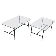 Pair of Midcentury Metal and Glass Tables by Pierre Guariche, France, 1950s