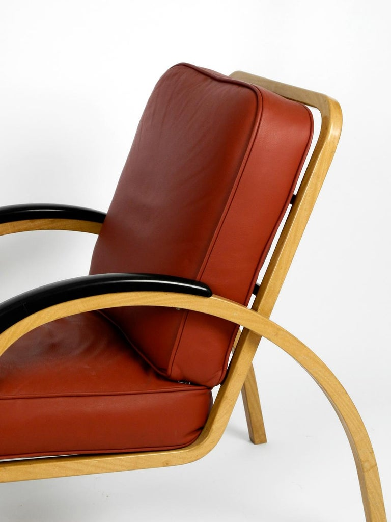 Pair of Midcentury Metal Leather Armchairs Newly Upholstered Norman Bel Geddes For Sale 4