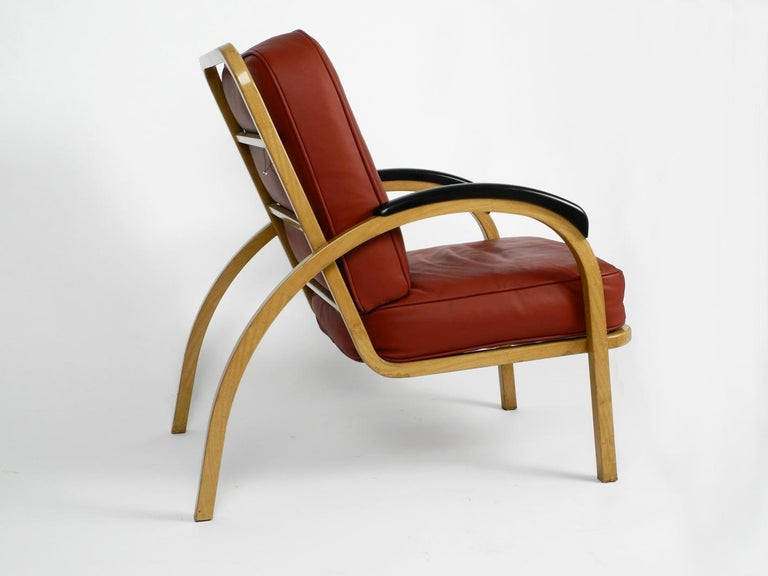 Mid-Century Modern Pair of Midcentury Metal Leather Armchairs Newly Upholstered Norman Bel Geddes For Sale