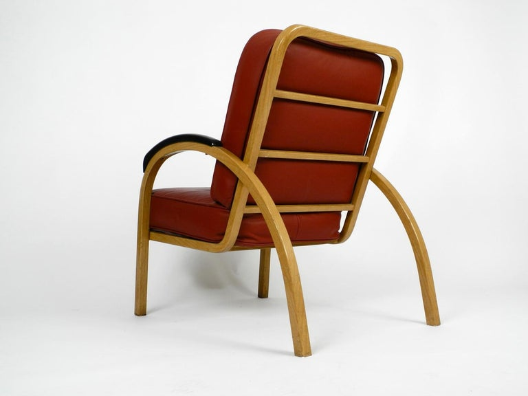 American Pair of Midcentury Metal Leather Armchairs Newly Upholstered Norman Bel Geddes For Sale